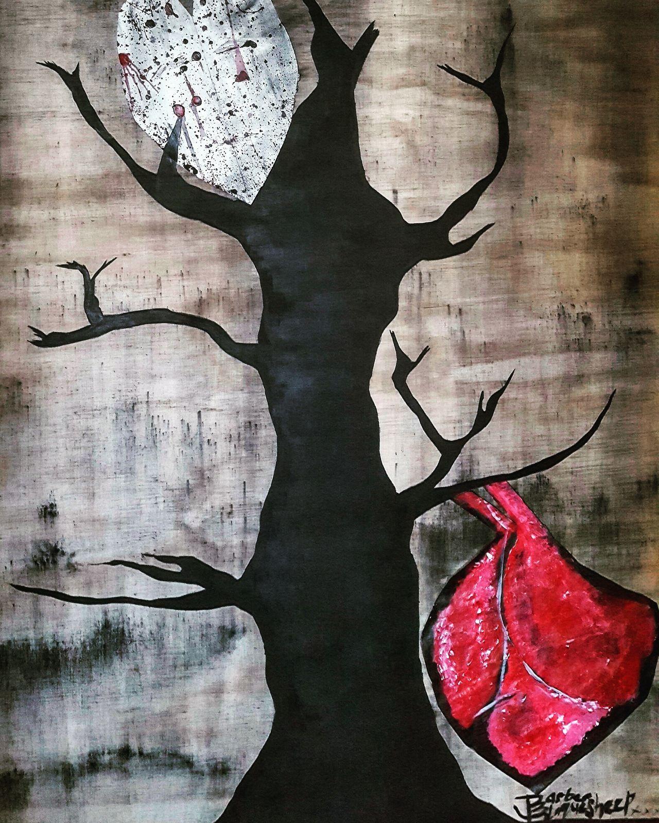 Painting Art ArtWork Paintings Paint Heart Tree Trees Tree Spirit Tree Spirit Portrait Mixedmedia Silhouette