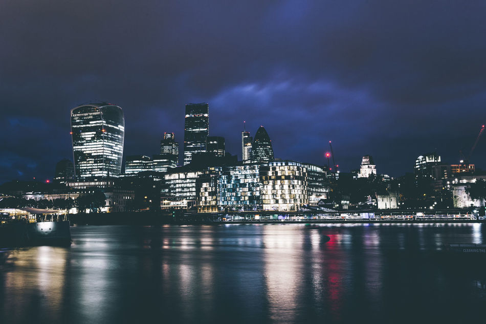 London business district skyline over Thames river at night Architecture Building Exterior Built Structure City Cityscape Cloud - Sky Downtown District Evening Futuristic Illuminated Late London Modern Night No People Outdoors Sky Skyscraper Thames River Tower Travel Destinations United Kingdom Urban Skyline Waterfront Welcome To Black Welcome To Black