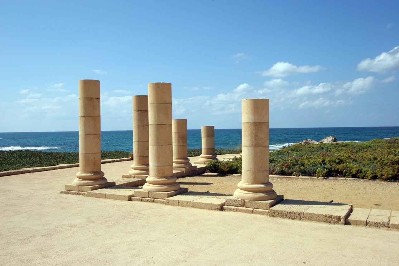 Ancient city Caesarea from Israel Ancient Archeology Architecture Beach Caesarea Empire Excavation Historic Holy Land Israel Landmark Mediterranean  Old Pillars Rock Roman Ruins Sea Stone Travel Destinations