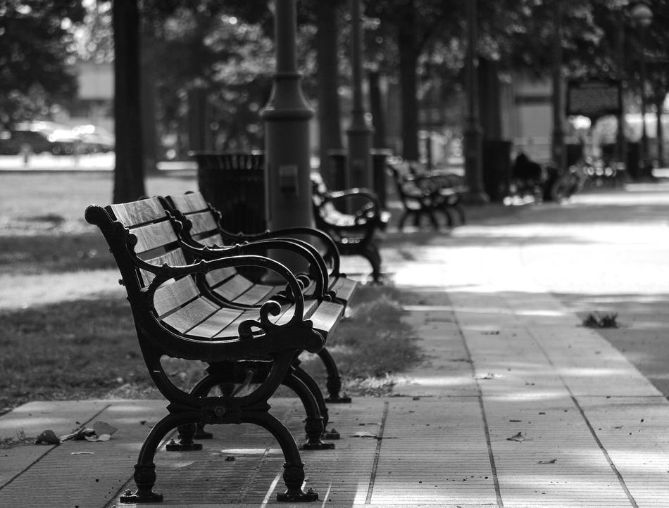 "Not Park Bench Thursday A Parkbench on a Wednesday because, if I remember the rules of the game correctly, Tom, @Nikon_T , ya can't post post a pic of a parkbench that's located in a park in ""Not Park Bench Thursday"" on a Thursday and I didn't wanna wait 😜. Focus On Foreground Outdoors No People Day Nature Park City Blackandwhite Black & White"