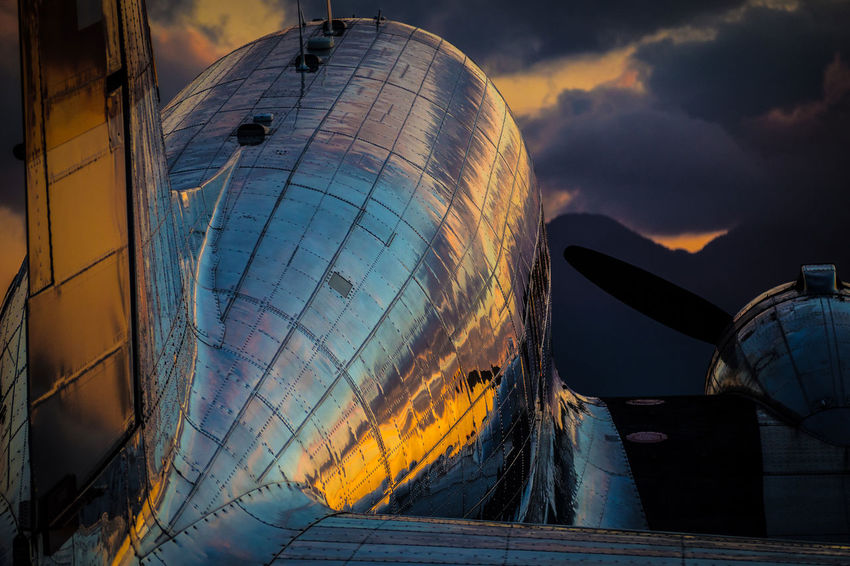 DC-3 Sunset Aerospace Industry Airplane Airplane Wing Architecture Astronomy Building Exterior Built Structure Cloud - Sky Day DC-3 Douglas No People Oldtimer Outdoors Propeller Airplane Sky Sunset