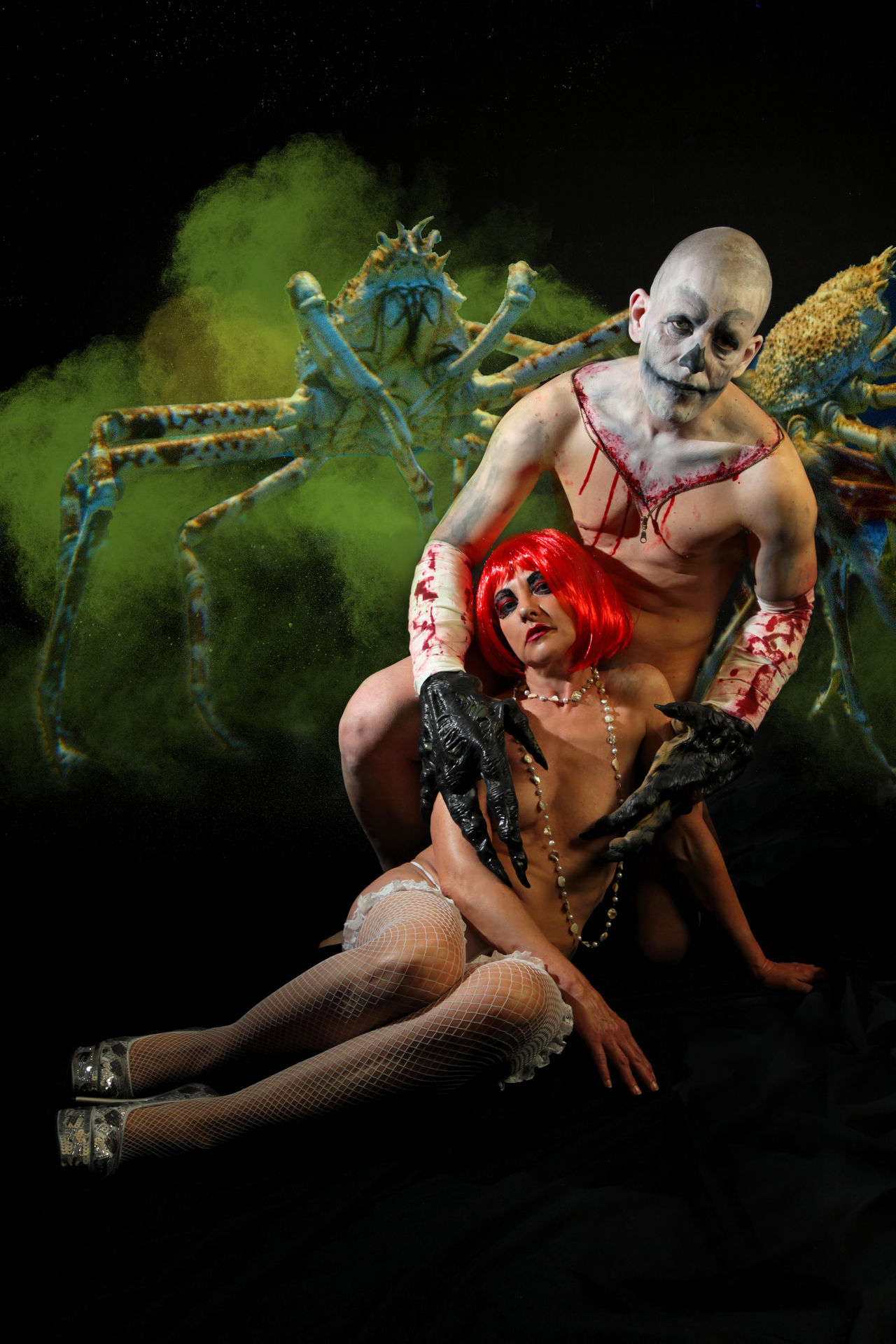 Blood Bodypainting Monster Crab Halloween Demon Monster Scary Studio Shoot Good And Evil Good And Bad