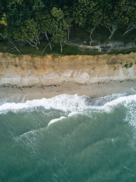 Aerial image of beach and water with waves and surfer Beauty In Nature Day Motion Nature No People Outdoors Scenics Tree Water Waterfront