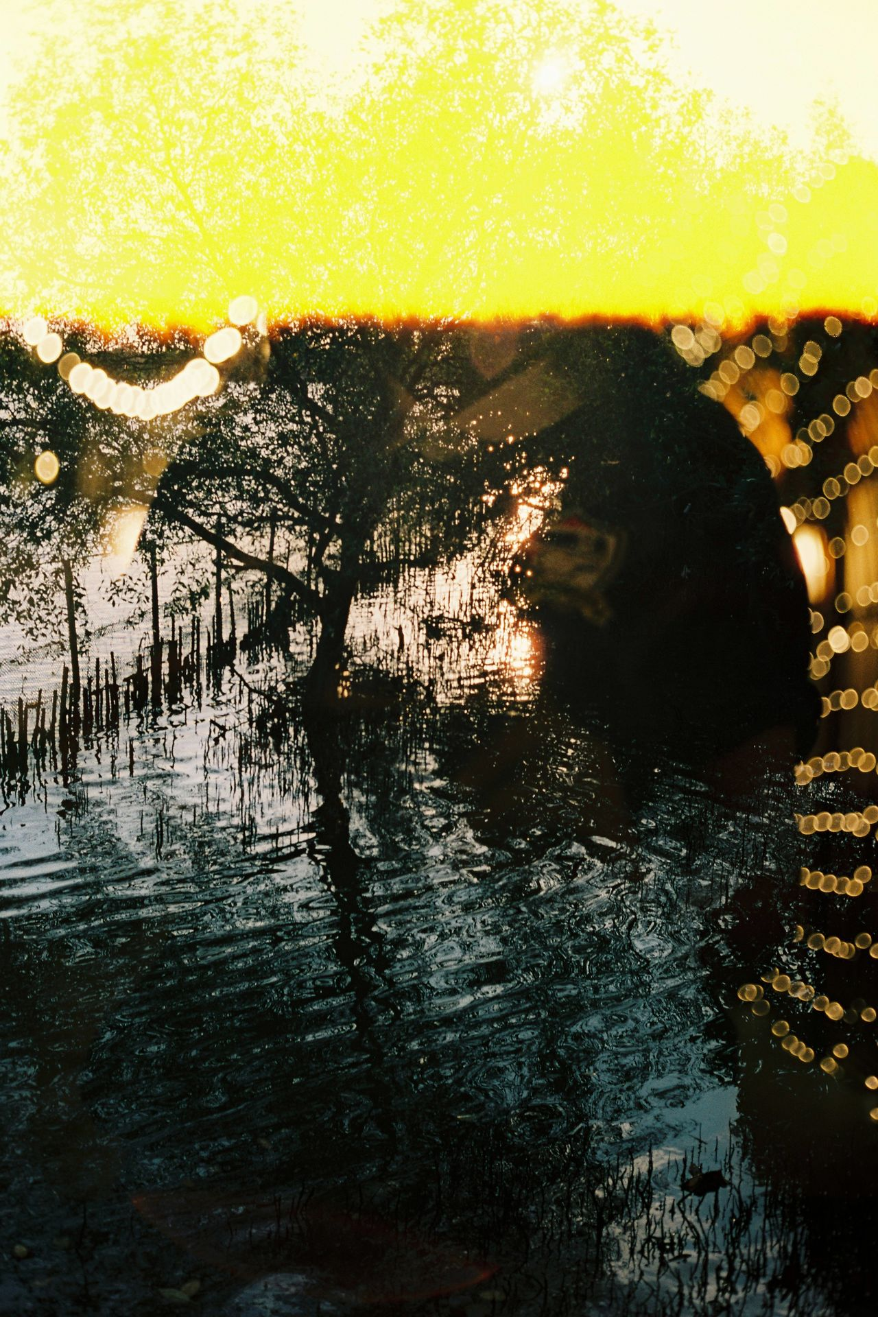 Sunset Tree One Person Silhouette Water Outdoors Nature Creativity Natural Light Feeling EyeEmNewHere Social Issues Inthemoment Analog Filmphotographer Filmisnotdead Lifestyles Multi-layered Effect Doubleexposure Lighting Nature Reflection Travel Destinations Eyemphotography Life In Motion