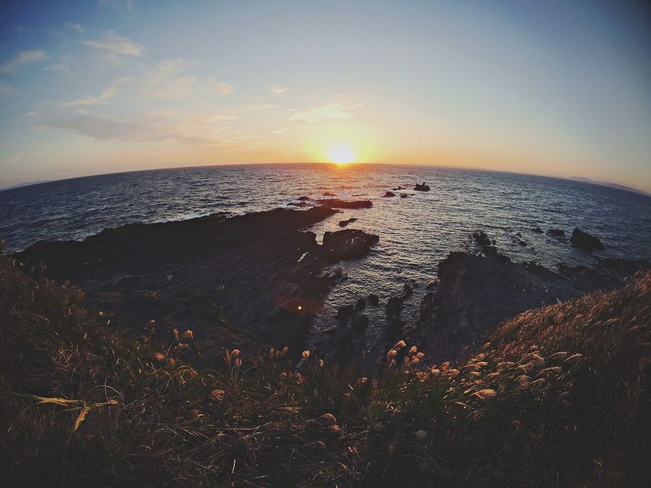 Sea Horizon Over Water Water Sunset Beauty In Nature Nature Scenics Sky Beach Tranquility Tranquil Scene No People Outdoors Sun Day