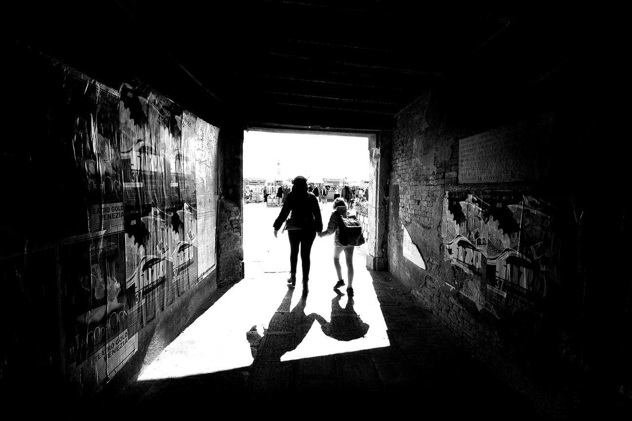 Tunnel Architecture Indoors  Kid Lifestyles Mom People Sunlight Tunnel