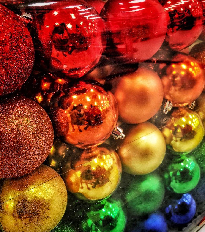 Ornaments Christmas Decorations Rainballs Colors Rainbows Christmas Time Holidays