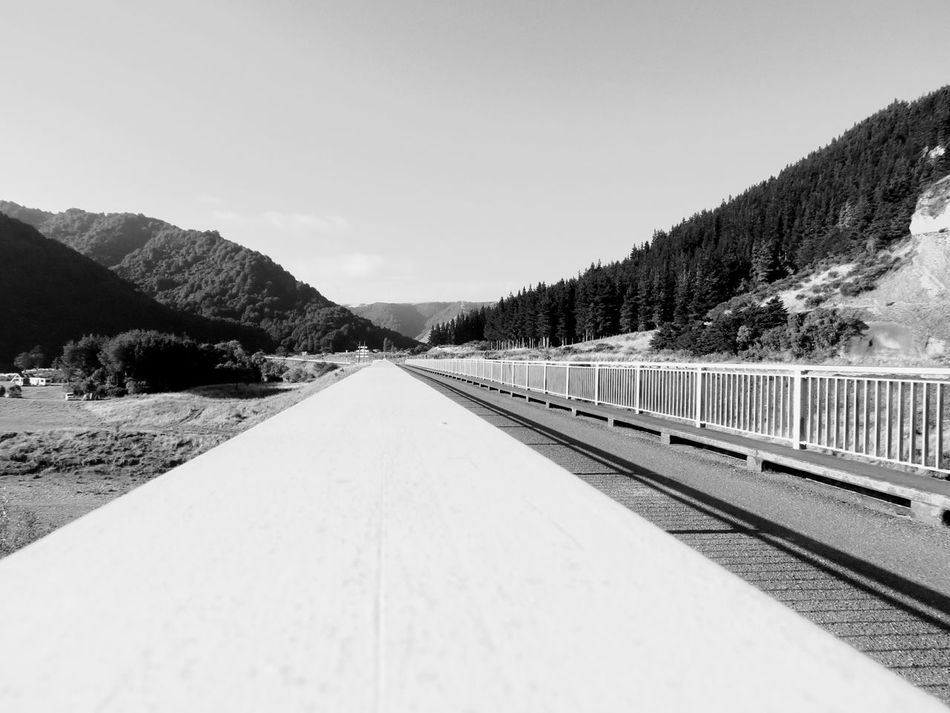 Bridge The Way Forward Clean Crisp National Reserve Scenic Transportation No People Railroad Track Outdoors Mountain Road Valley Landscape Day Scenics Cold Temperature Nature Sky Tree Beauty In Nature Black And White Manawatugorge Manawatu River Ballance Bridge Neighborhood Map The Great Outdoors - 2017 EyeEm Awards