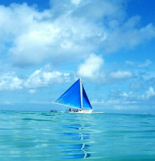 Blue Cloud - Sky Water Sea Sky Sailboat Travel Outdoors Nautical Vessel Nature No People BoracayIsland Boracay Philippines The Great Outdoors - 2017 EyeEm Awards
