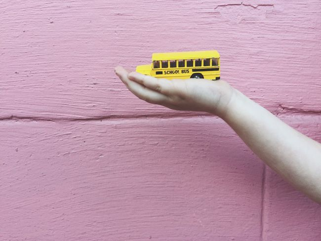 Pink Wall School Bus Hands Pink Fun Toy Child Memories My Commute