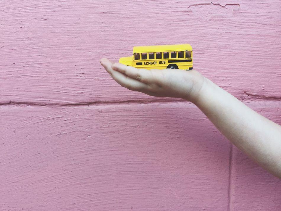 Pink Wall School Bus Hands Pink Fun Toy Child Memories My Commute Millennial Pink