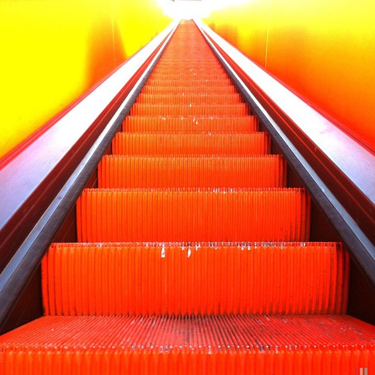 orange Zollverein Zechezollverein Hipstamatic Escalator Essen Germany Lines Orange Yellow Deutschland Silver  Ruhrgebiet Zeche