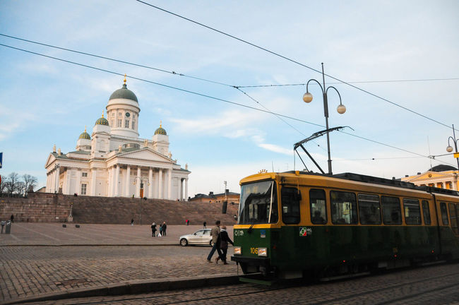 Train passing through Helsinki Senate Square on a fantastic weather! Architecture Building Exterior Built Structure Cable Car City Day Helsinki Helsinki Senate Square Helsinki,finland Land Vehicle Mode Of Transport No People Outdoors Public Transportation Rail Transportation Railroad Track Sky Train - Vehicle Tram Transportation Travel