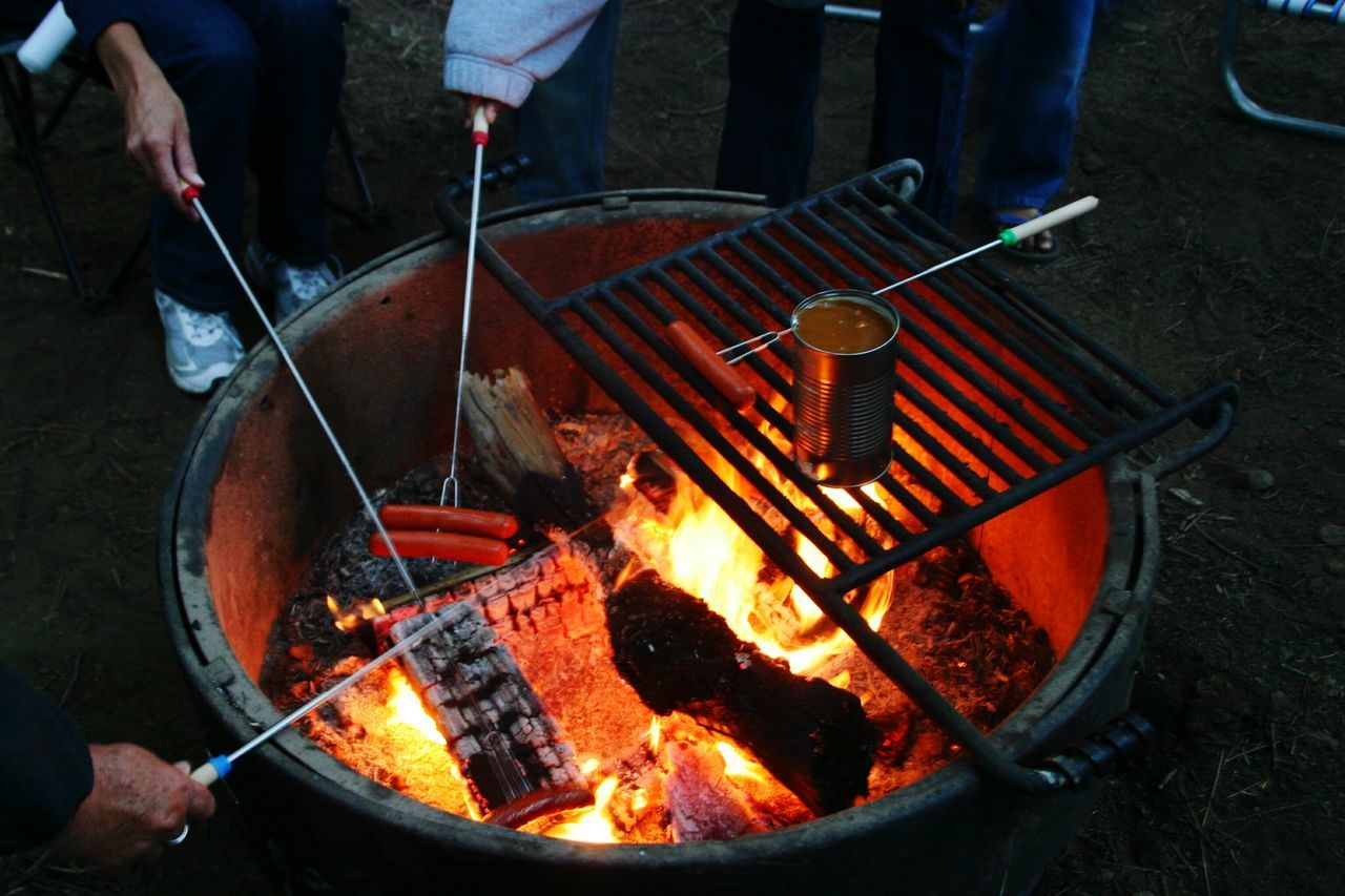 Campfire Camping Grilling Bbq Beans Skewers Campsite Grilled Meat Fire Ring Family Time Summer Holiday Vacation Camp Out Camp