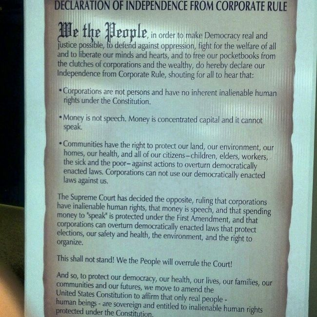 Declaration of independence from corporate rule Movetoamend Moneyisnotspeech Corporatocracy