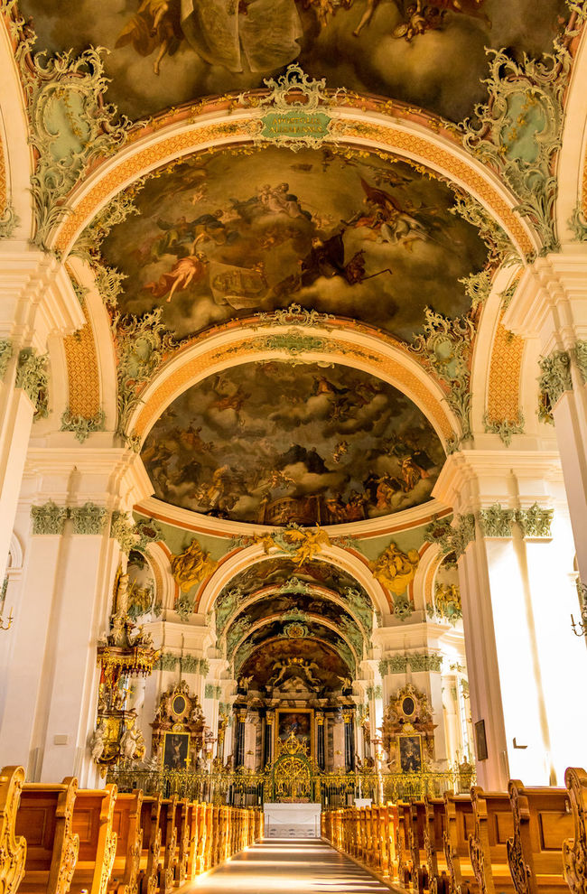 The Abbey Cathedral Of St Gall Abbey Architecture Cathedral Christianity Historical Building Indoors  St Gallen Symmetrical
