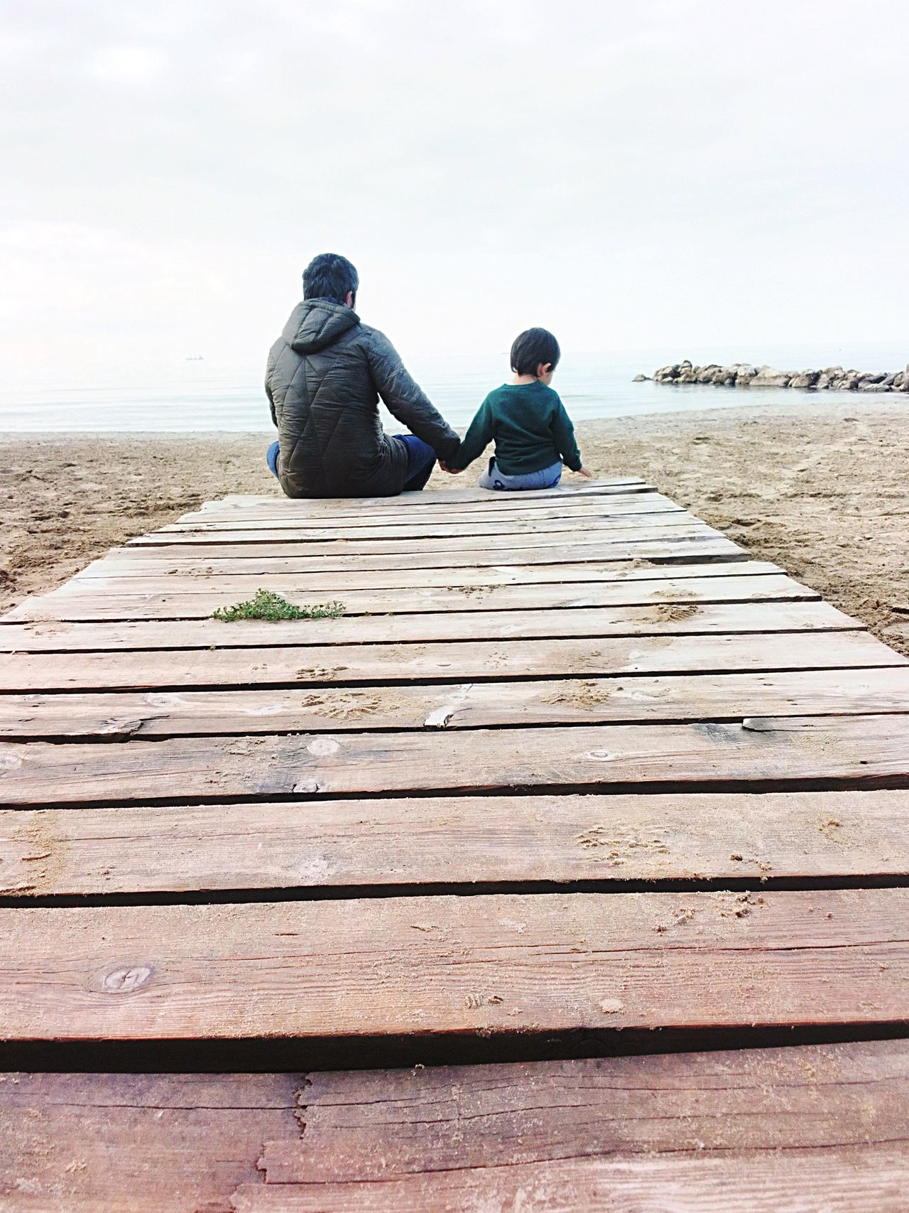 Fatherhood Moments Boy Outdoors Autumn Family Love Dad Holding Father Son Caucasian Kid Sitting Beach Albania Durres