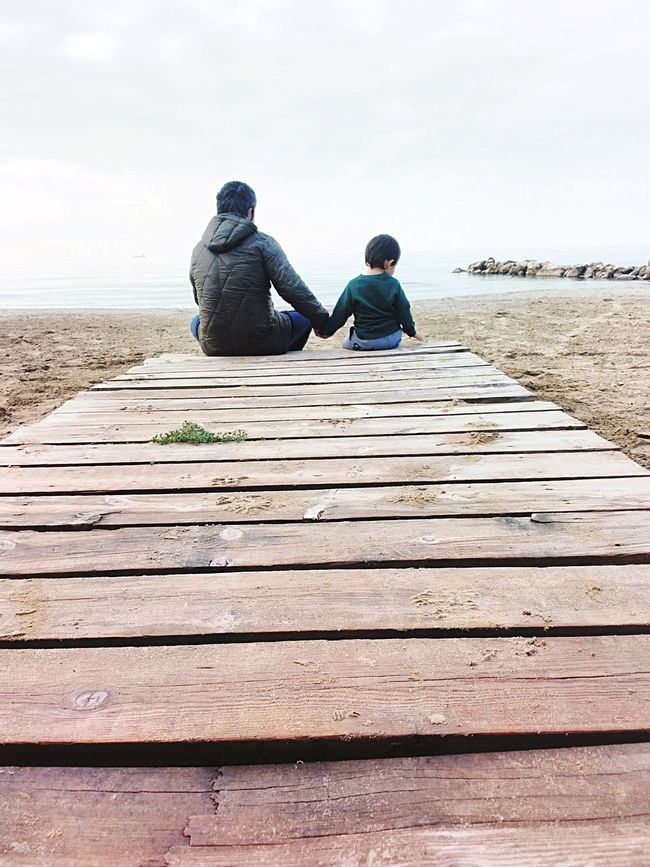 Fatherhood Moments Boy Outdoors Autumn Family Love Dad Holding Father Son Caucasian Kid Sitting Beach Albania Durres