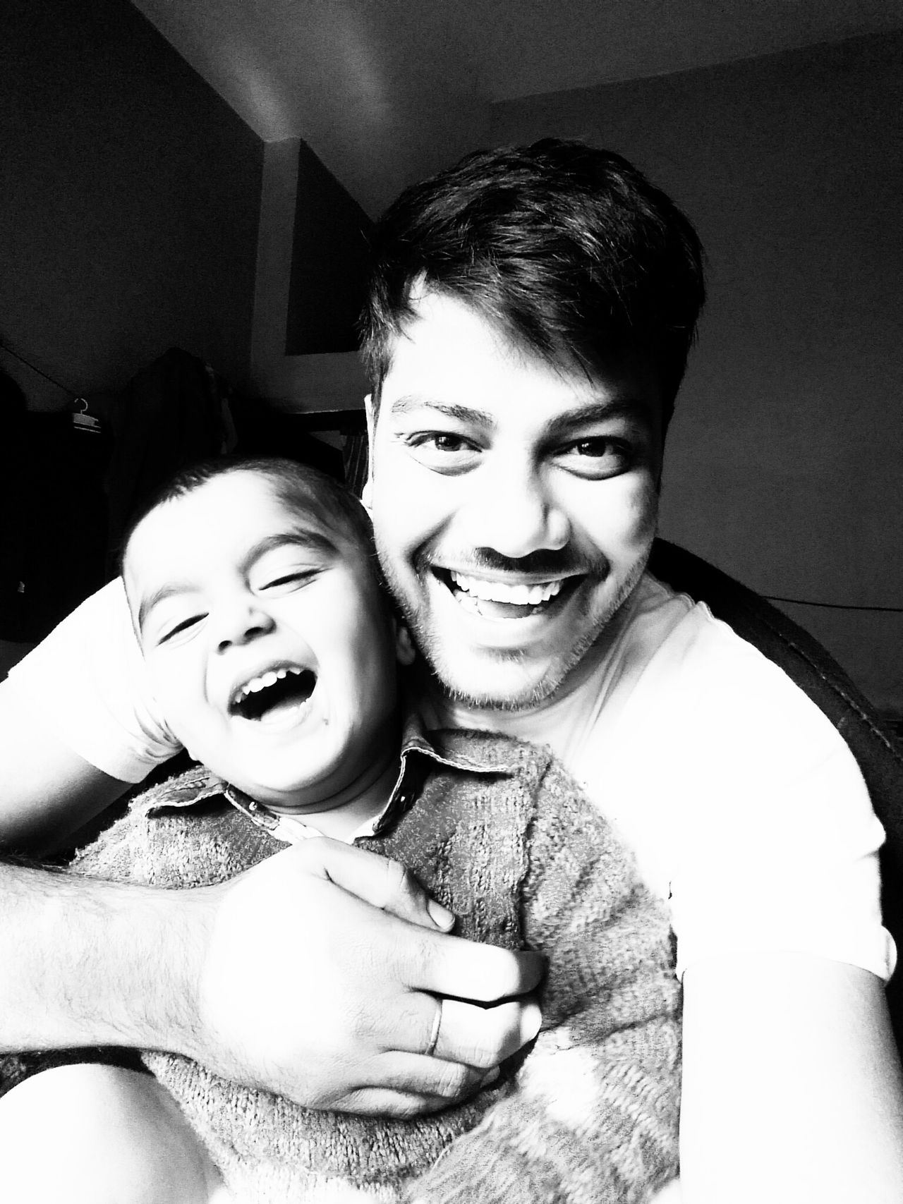Enjoying with son 😎😂 Hello World ✌ Check This Out Bonding Lifestyles Looking At Camera Cheerful Portrait Smiling Two People Indoors  Innocence Light And Shadows Monochrome Photography Sweet Boy! ❤ Model Black & White Close-up Son And Father Enjoying Life Togetherness Selfportrait Selfie✌