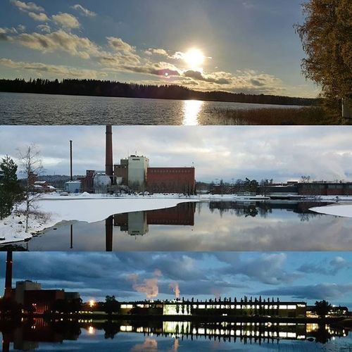 Great view 😀😀 From Finland Mänttä Reflection 😉😉 Day - Midday - Midnight 😊😊