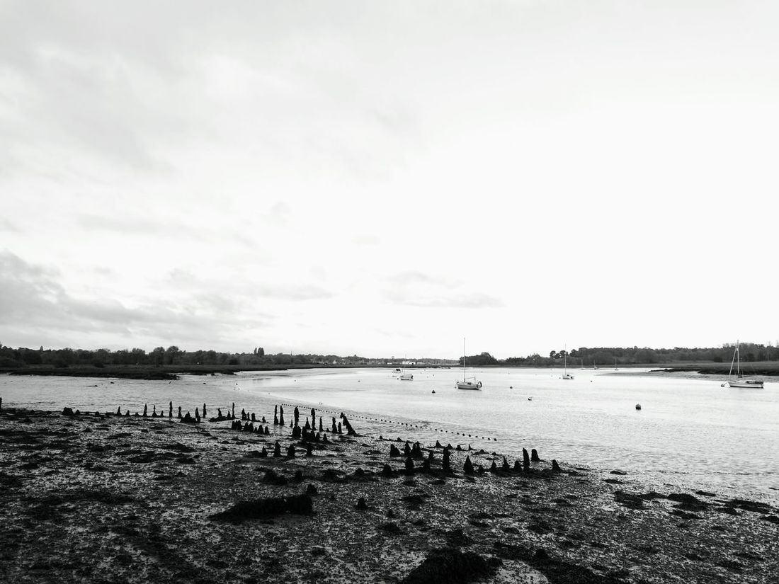 Water Sky Outdoors Landscape Photography Riverbank View River Deben Blackandwhite Photography Harbor Deben River, Suffolk Boats And Water