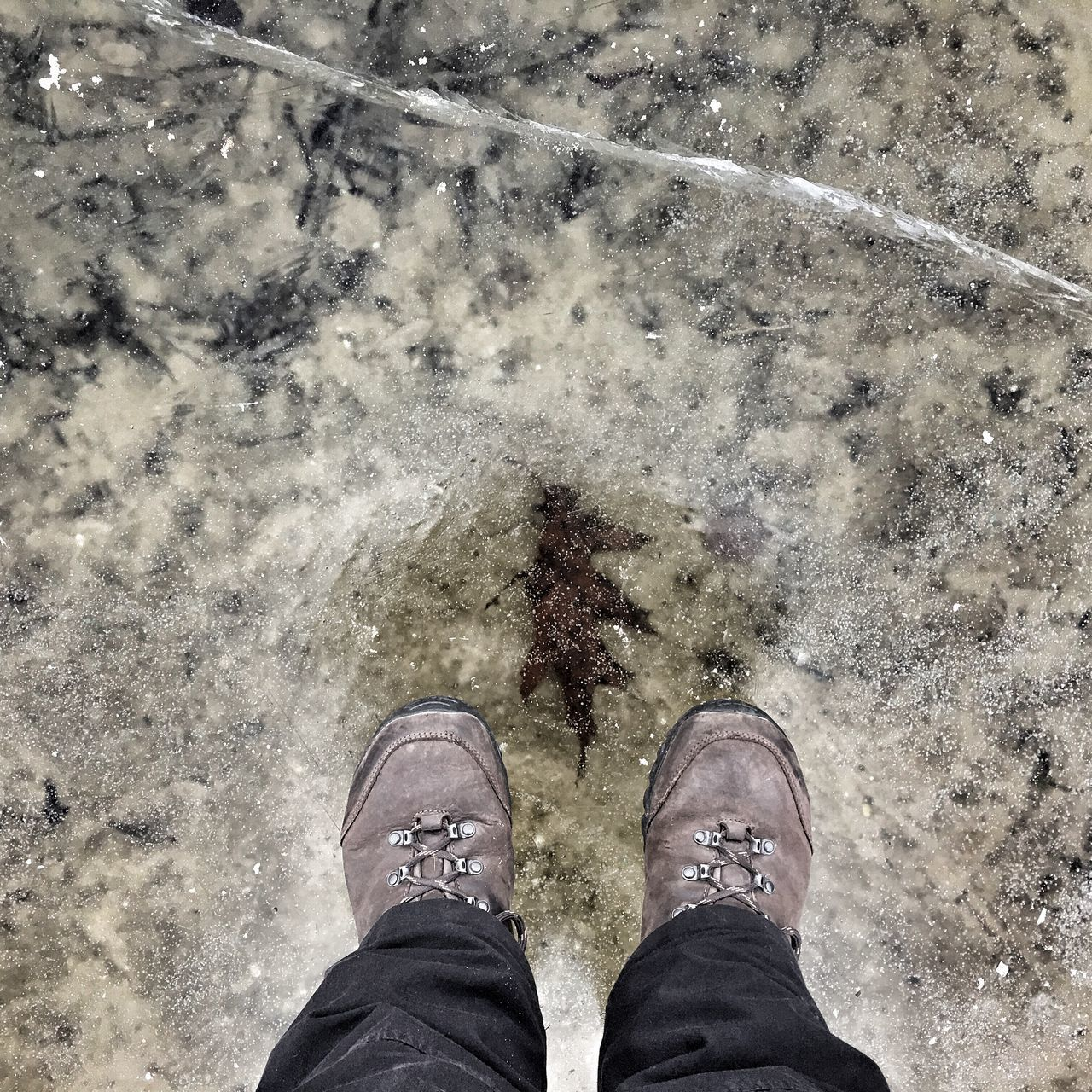 Low Section Shoe Standing One Person High Angle View Human Leg Personal Perspective Real People Outdoors Day Human Body Part Men One Man Only People Standingonice