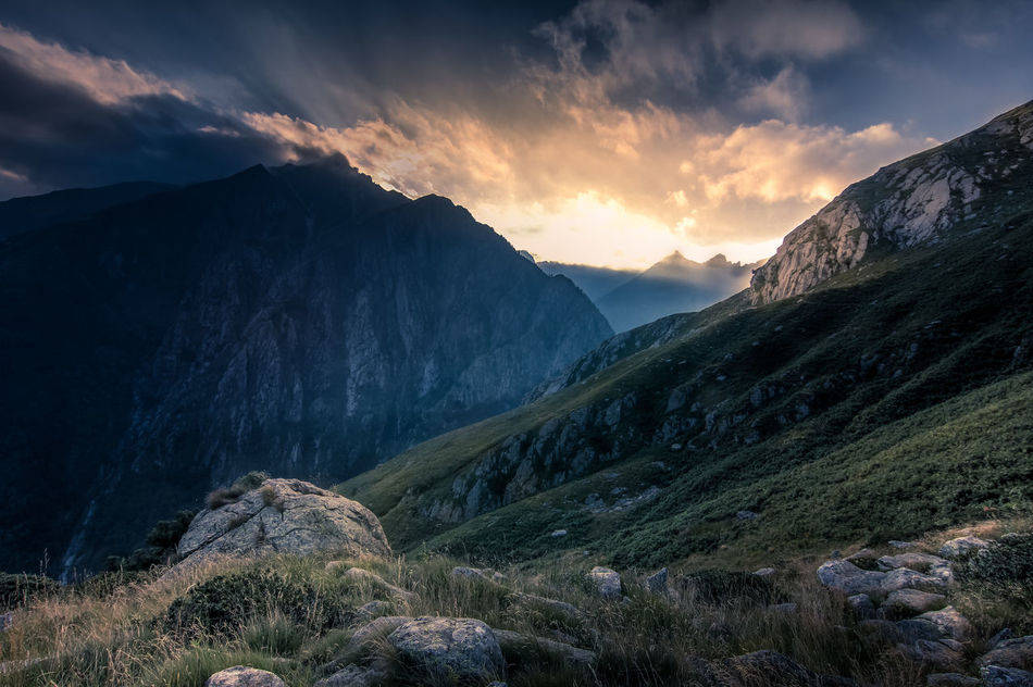 Sunset in the mountains above Lake Como. Betterlandscapes Canon Canonphotography Cloud - Sky Comer See Dramatic Dramatic Sky Dramatic Sky Hiking Italia Italy Lago Di Como Lake Como Landscape Mountain Mountain Peak Mountain Range Mountain View Nature No People Outdoors Scenics Sky Sunset Sunset_collection