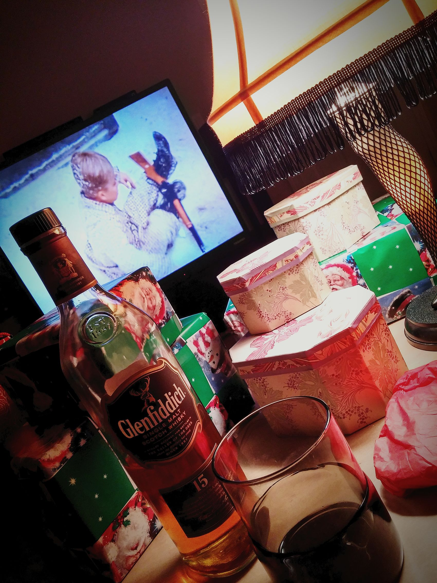 Same as every year...wrapping gifts into the early hours of Christmas and watching A Christmas Story...while enjoying a little yuletide cheer. Merry Christmas! Itsamajoraward Fragile Notafinger Youllshootyoureyeout Glenfiddich Scotch Whisky Myview Cheers