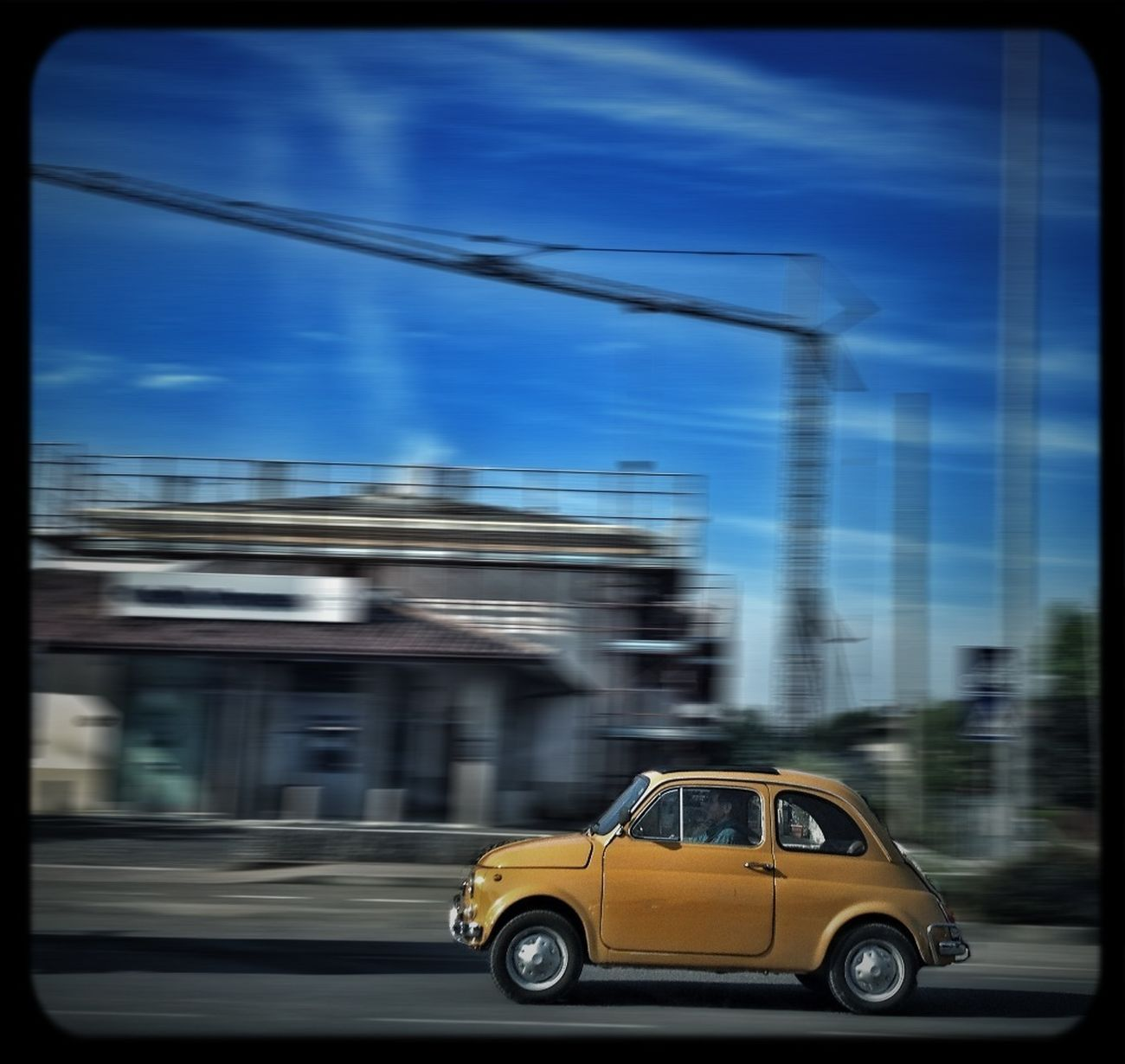 Fiat500 Streetphotography Blue Sky On The Road Again