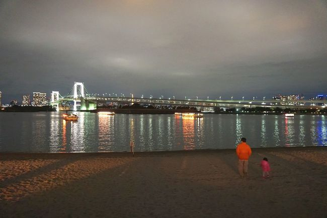 Feel The Journey I spotted a father and his kid watching the calm waters of Tokyo Bay Japan . Night Lights City Life Illuminated Cityscape