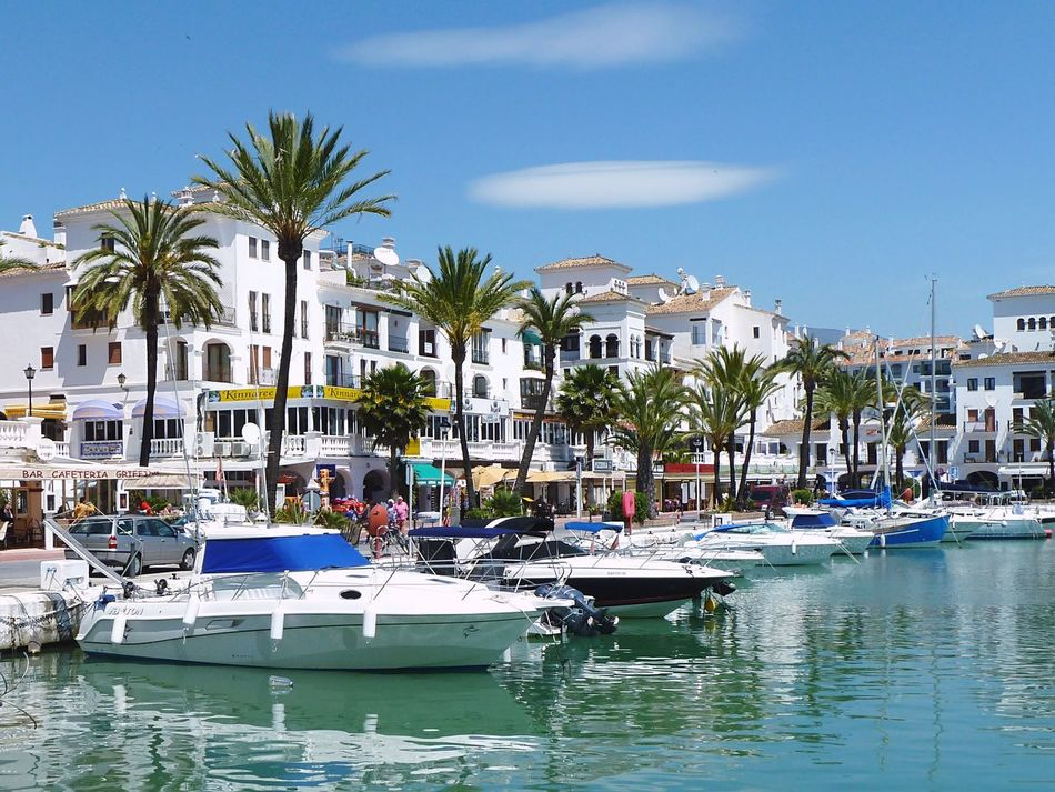 Marina Sea And Sky Restaurants Bars Boats Summer SPAIN Duquesa Palm Trees Blue Sky Tourism The Essence Of Summer Feel The Journey