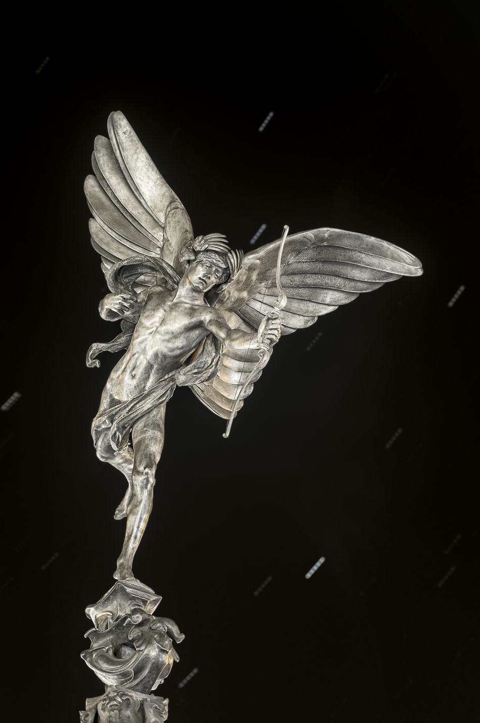Angel Wings Black Background Bow And Arrow Cement Cementery Cupid Dark Sky Day Enjoying Life Female Likeness History London Night Sky Night Time No People Sculpture Statue Stone United Kingdom