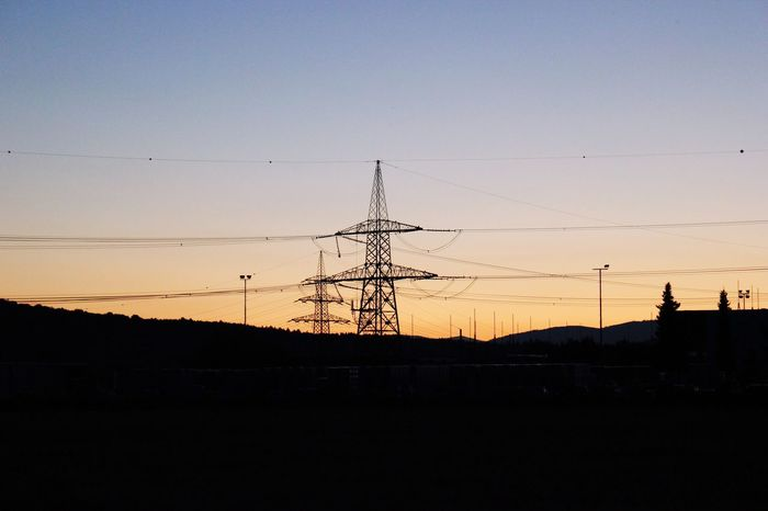 Silhouette Electricity  Sunset Landscape Power Line  Electricity Tower Nature Color Of Technology TakeoverContrast Overnight Success