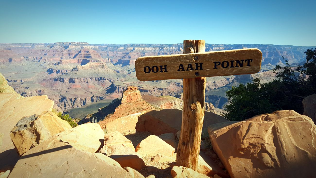 Oh Ah Point Grand Canyon Arizona Hiking Sign Destination Red Rock Canyon Cliffside Going The Distance