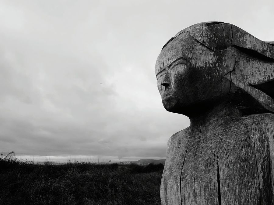 Reflecting on change Cloud - Sky Sky Outdoors Nature Scenics Close-up Statue Day ArtWork Art Totem Sker Beach Maiden Sculpture Nature Textured  Wood - Material Built Structure Kenfig Nature Reserve Nature Reserve. No People Port Talbot Steelworks