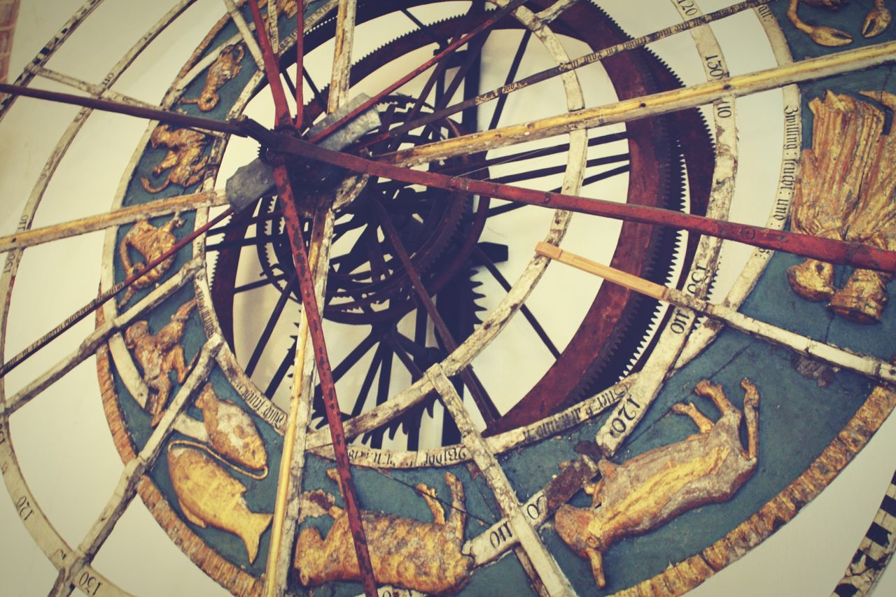 Clock middle age Old-fashioned No People Indoors  Museum Luebeck Zodiac Signs Clock Clockwork Middle Ages Patterns Metalwork EyeEmNewHere Low Angle View Colorful Handmade Contrasts Animal Figurines Old German Scripture Blue Color Yellow Color Red Color Let's Do It Chic! Built Structure Spiral ArtWork