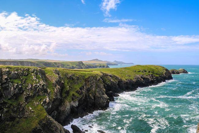Beauty In Nature Calm Cliff Coastline Distant Idyllic Nature Ocean Pembrokeshire Pembrokeshire Coast Rock Formation Rocky Rocky Coastline Scenics Sea Tranquil Scene Wales Wales You Beauty Wales❤ Water