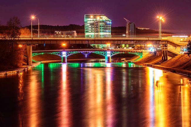 City Cityscape Neris Night Lights Open Edit Long Exposure River Urban Landscape City Lights Bridges Cities At Night Night Night, Sleep Tight