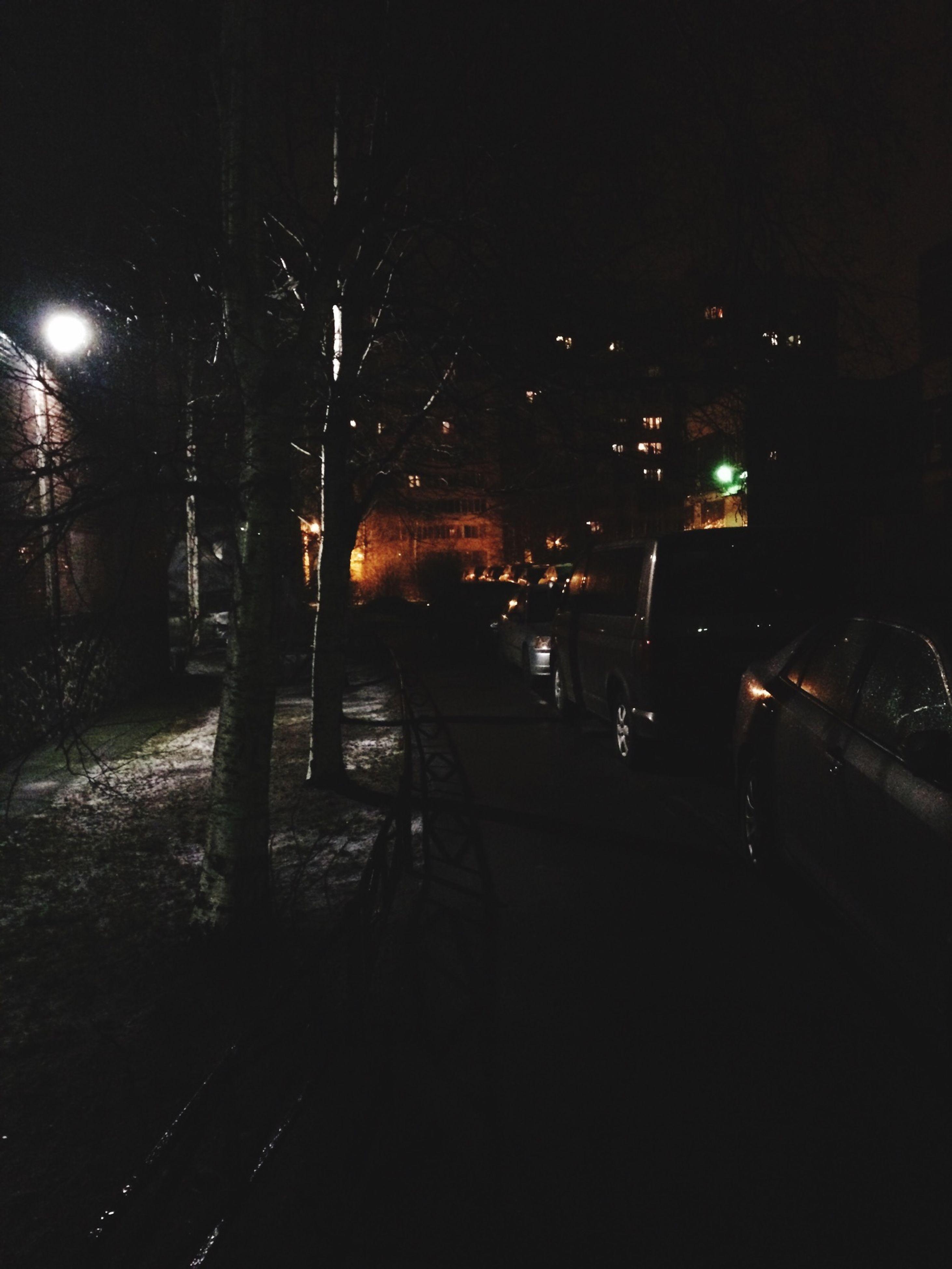 night, illuminated, dark, tree, street, transportation, street light, road, building exterior, silhouette, city, built structure, the way forward, architecture, outdoors, car, city life, land vehicle, lighting equipment