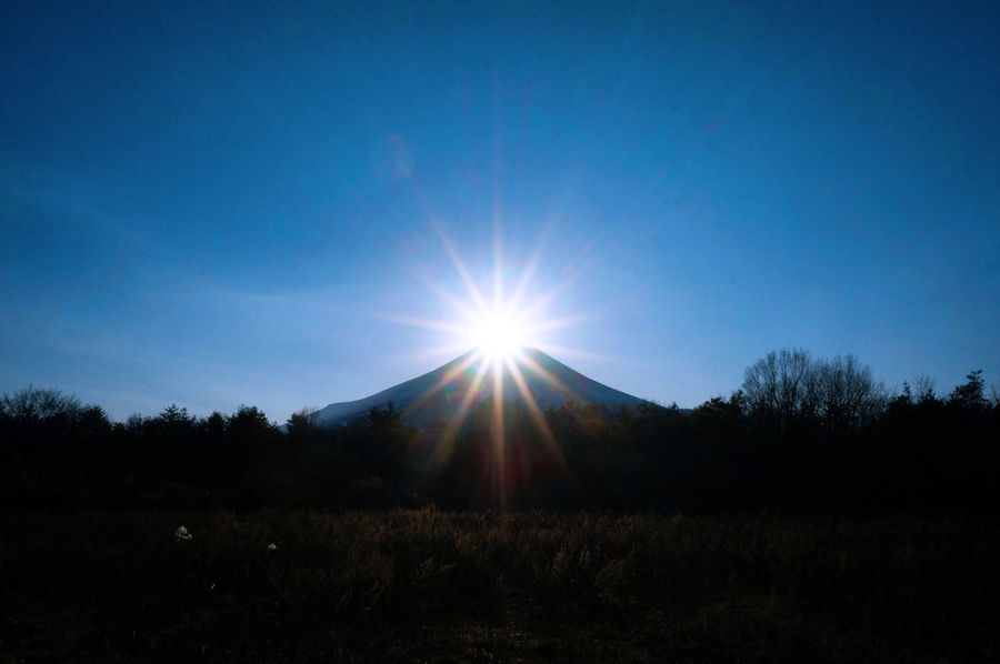 2014 Beauty In Nature Clear Sky Diamond Diamond Fuji Nature Outdoors Scenics Sky Sun Sunlight ダイヤモンド富士 山中湖 花の都公園