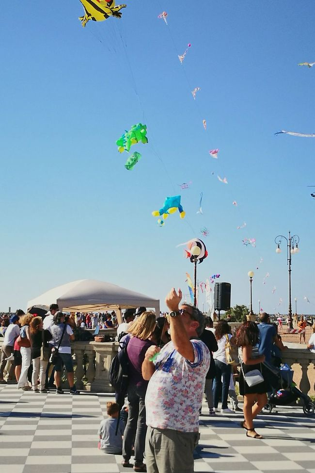 Large Group Of People Clear Sky People And Places Men Enjoyment Blue Sky Vibrant Color Kitefestival Flying A Kite Crowd La felicità è.....anche da grandi