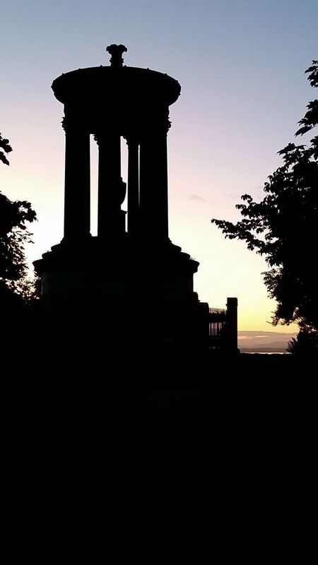 Calton Hill Edinburgh Scotland Dugald Stewart Monument Low Angle View No People Outdoors Silhouette Sky Sunset Travel Destinations Tree Uk