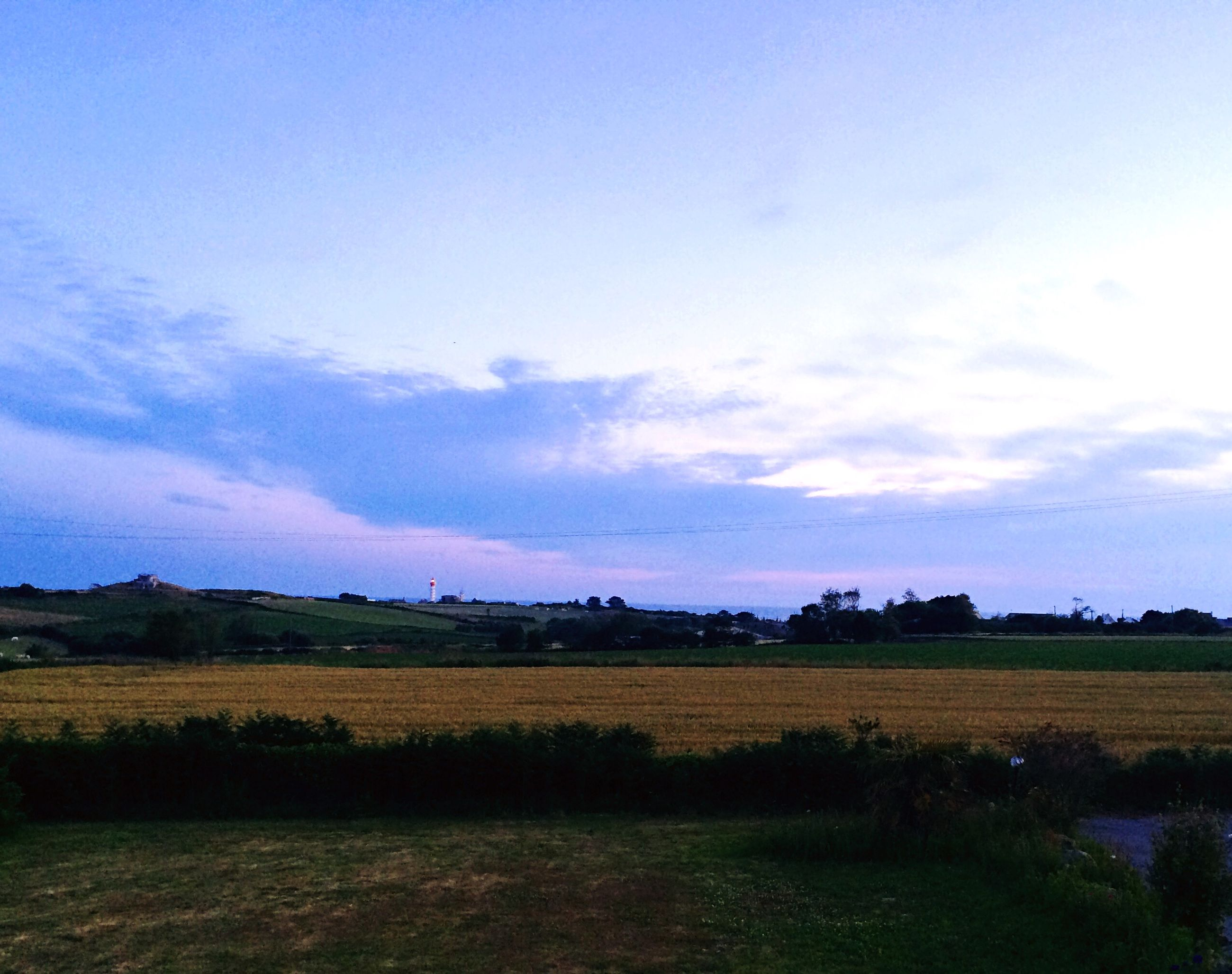 field, sky, landscape, rural scene, tranquil scene, agriculture, tranquility, beauty in nature, scenics, farm, nature, building exterior, growth, cloud - sky, built structure, architecture, tree, blue, cloud, grass