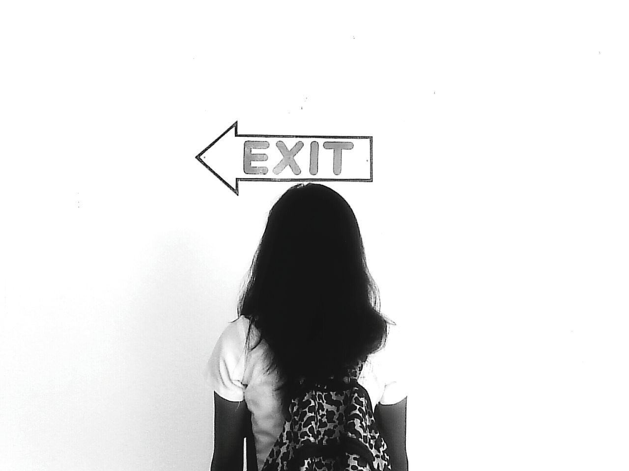 Long Goodbye every exit is a new journey — maejimercado Exit Exit Sign Text Rear View Women Communication Business Finance And Industry Standing Indoors  Adults Only Choice People Adult One Person Men Sticky Young Adult Young Women