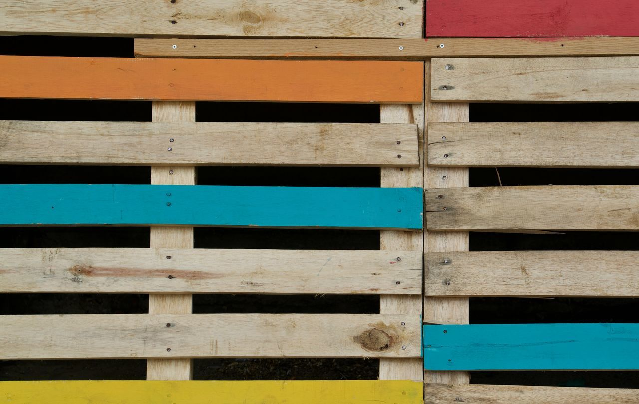 Palette Black Background Composition Handmade Nails Nature Materials Orange, Blue, Yellow, Red Palette, Transportation, Logistics, Wood, Painted Structure