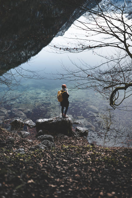 Beauty In Nature Day Full Length Königssee Lake Leisure Activity Lifestyles Nature One Person Outdoors People Real People Schönau Am Königsee Standing Tree Water Women Young Adult