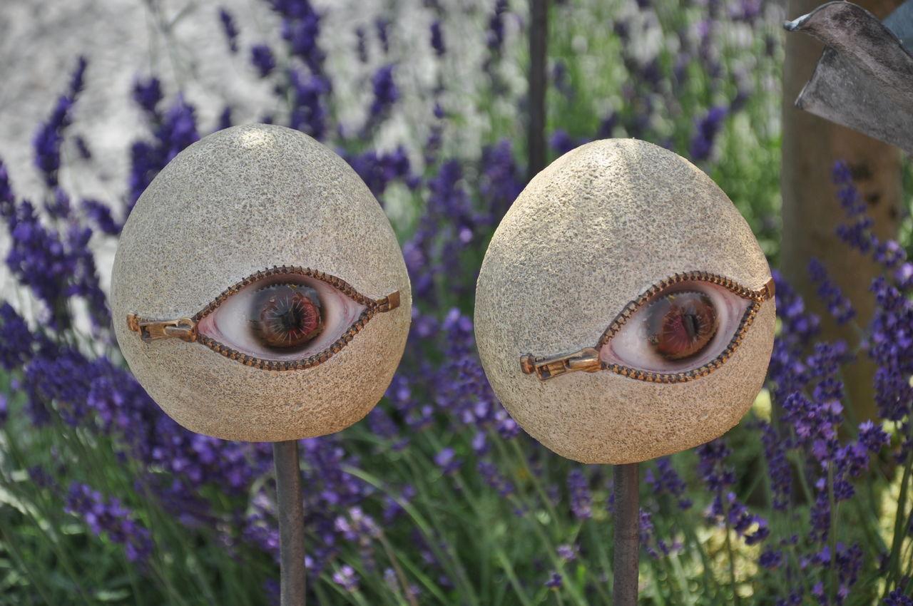 Garden Art at Hampton Court Flower Show Art Art And Craft Close-up Creativity Decoration Eyes Man Made Object No People Still Life Zips