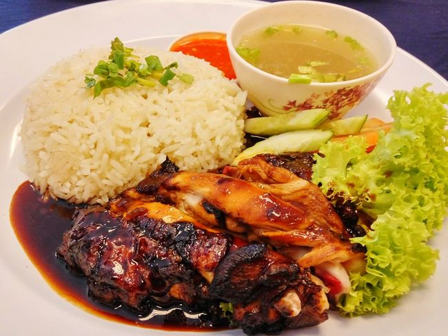 Roasted chicken rice on white plate Plate Ready-to-eat Food Serving Size No People Healthy Eating Freshness Roast Chicken Salad Delicious Foods Tasty Cuisine Local Food Malaysian Spicy Chili  Close-up Indoors  Meal Soup Roasted Chicken Steamed Rice