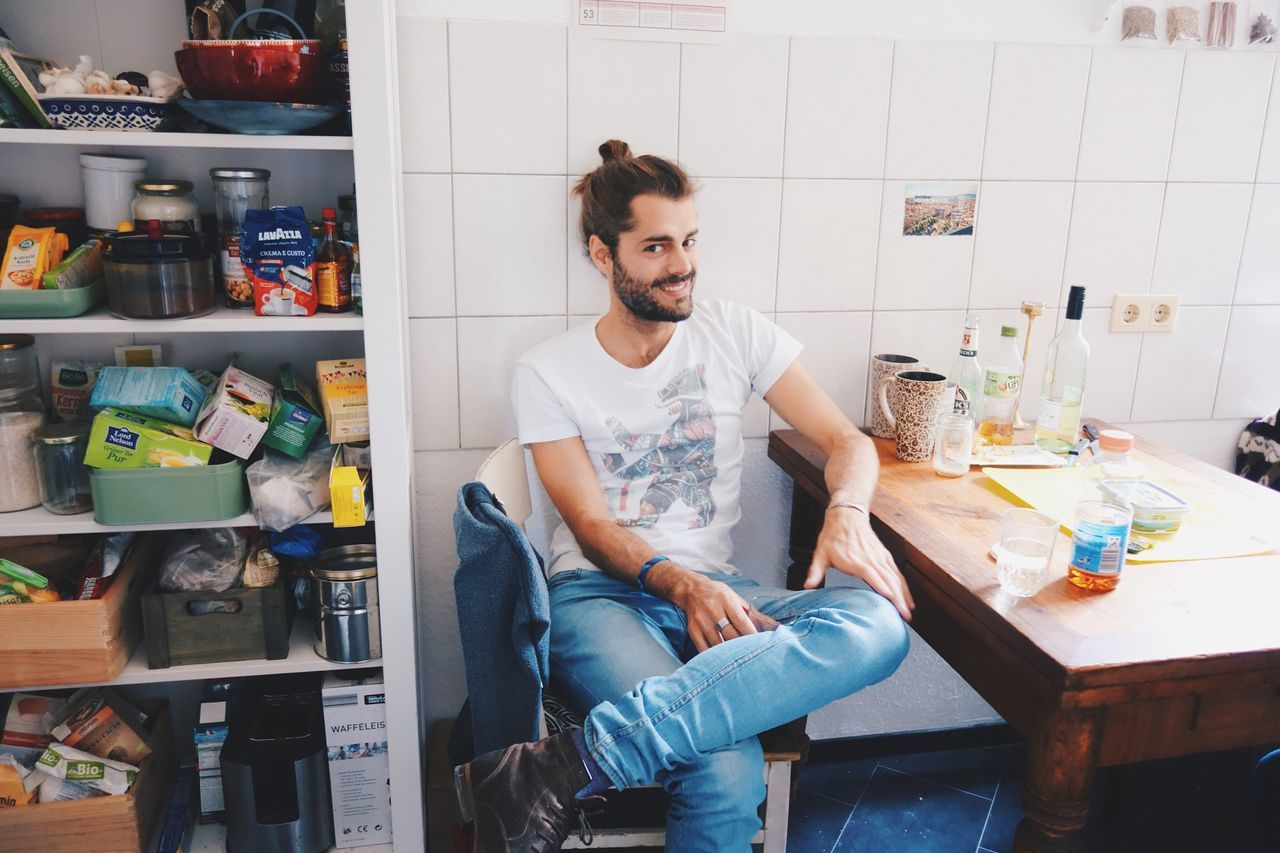 sane Sitting Casual Clothing Indoors  Beard Kitchen One Person Delightful *_*