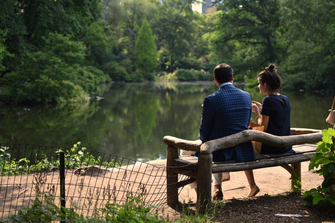 Sitting Rear View Togetherness Two People Casual Clothing Relaxation Women Nature Adult Leisure Activity Day Lake Real People Weekend Activities Water Bonding Outdoors Men Tranquility Full Length Socializing Central Park CentralPark Central Park - NYC Nature